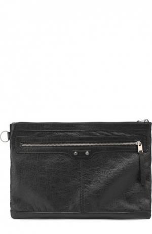 Кожаная папка для бумаг с внешним карманом на молнии Balenciaga. Цвет: черный