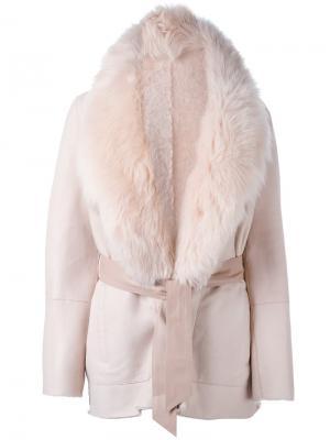 Пальто с воротником из овчины и поясом Drome. Цвет: розовый и фиолетовый