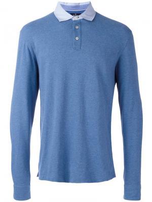 Рубашка-поло с длинными рукавами Hackett. Цвет: синий