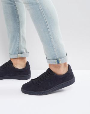 Fred Perry Темно-синие хлопковые кроссовки B721. Цвет: темно-синий
