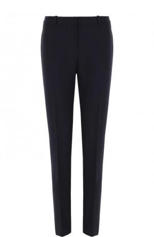 Шерстяные брюки прямого кроя в полоску BOSS. Цвет: темно-синий