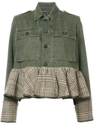 Джинсовая куртка с баской Harvey Faircloth. Цвет: зелёный