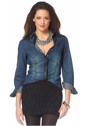 Джинсовая рубашка MELROSE. Цвет: темно-синий