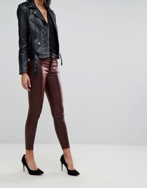 Dr Denim Укороченные джинсы с покрытием и молниями. Цвет: красный