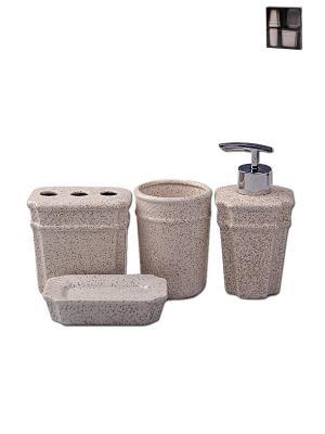 Набор для ванны 4 предмета: дозатор, подставка зубных щеток, стакан, мыльница PATRICIA. Цвет: белый