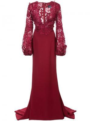 Кружевное платье с V-образным вырезом J. Mendel. Цвет: красный