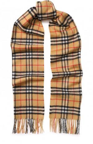 Кашемировый шарф в клетку с бахромой Burberry. Цвет: светло-коричневый