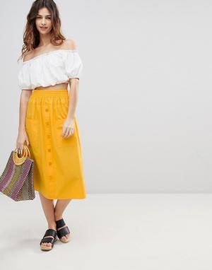 ASOS Хлопковая юбка миди на пуговицах DESIGN. Цвет: желтый