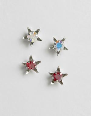Krystal Набор из 2 пар серег-гвоздиков с кристаллами Swarovski. Цвет: серебряный