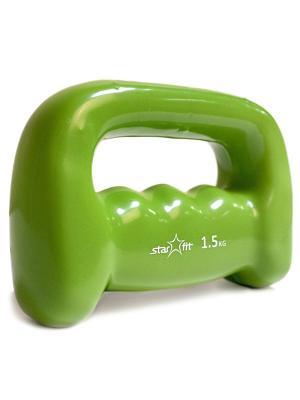 Гантель виниловая STAR FIT DB-103 1,5 кг, зеленая Starfit. Цвет: зеленый