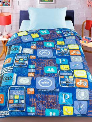 Покрывало-одеяло Letto Смартфон 140*200см. Облегченное, стеганое. 100% хлопок. Цвет: синий