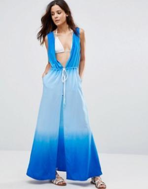 Echo Пляжное платье с эффектом омбре. Цвет: синий