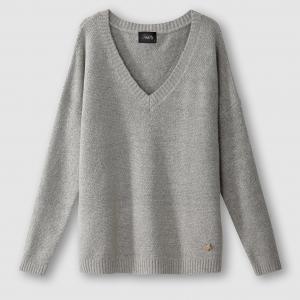 Пуловер с V-образным вырезом PAMELA SCHOOL RAG. Цвет: светло-серый