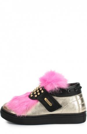 Кожаные кроссовки с заклепками и меховой отделкой Missouri. Цвет: черный