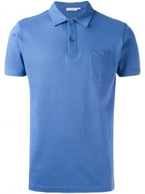Рубашка-поло Sunspel. Цвет: синий