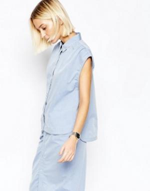 Gestuz Рубашка с короткими рукавами Little. Цвет: синий