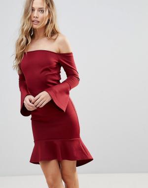 Oh My Love Платье мини с открытыми плечами и рукавами клеш. Цвет: красный