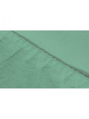 Простыня на резинке махровая 160х200 ECOTEX. Цвет: морская волна