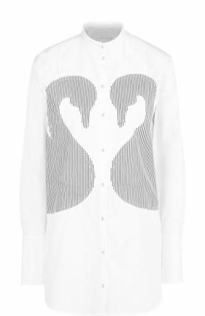 Удлиненная хлопковая блуза с нашивками в полоску Victoria by Beckham. Цвет: черно-белый