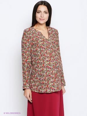 Блузка MammySize. Цвет: зеленый, красный