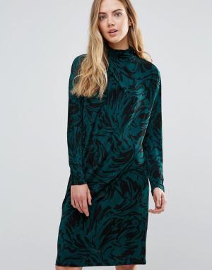 Ganni Асимметричное драпированное платье Doherty. Цвет: зеленый