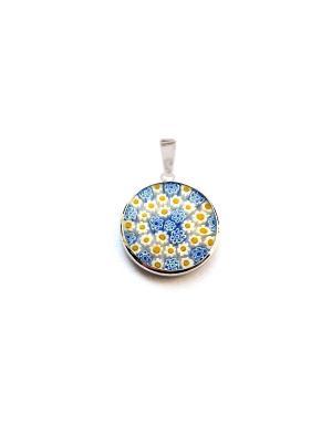 Подвеска Миллефиори, 18мм, цвет M01O Bottega Murano. Цвет: синий,желтый,белый