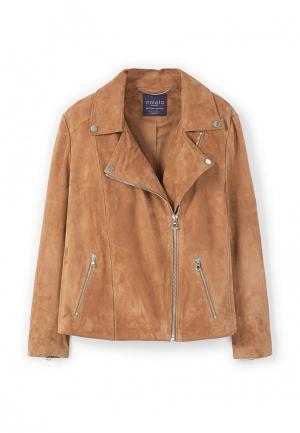 Куртка кожаная Violeta by Mango. Цвет: коричневый