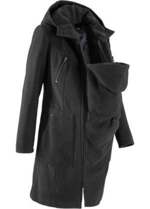 Мода для беременных: пальто с защитной вставкой малыша (антрацитовый меланж) bonprix. Цвет: антрацитовый меланж