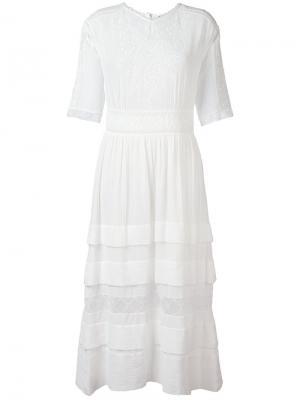 Длинное платье с вышивкой Masscob. Цвет: белый