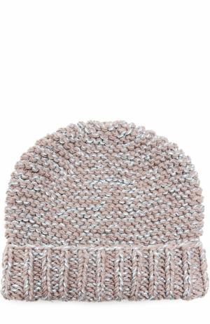 Вязаная шапка с отворотом и отделкой металлизированной нитью 0711. Цвет: светло-коричневый