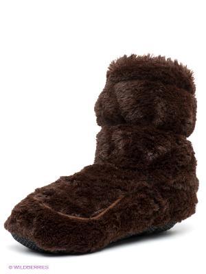 Тапочки-грелки Cozy Heads. Цвет: темно-коричневый
