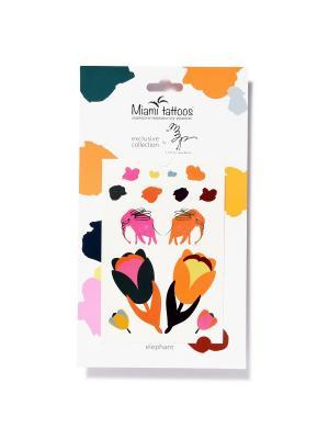 Переводные тату Miami Tattoos Elephants by Little Pushkin 1 лист 10см*15см. Цвет: бирюзовый, желтый, зеленый, индиго, коричневый, красный, лазурный, морская волна, розовый, салатовый, светло-голубой, серый меланж, сливовый