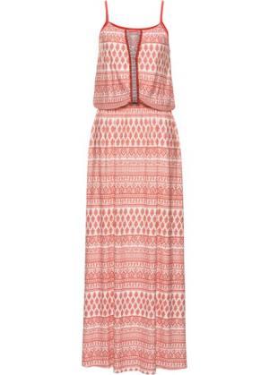 Длинное платье с узором (коралловый узором) bonprix. Цвет: коралловый с узором