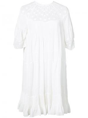 Платье шифт с вышивкой Ulla Johnson. Цвет: белый