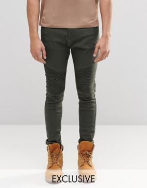 Liquor & Poker Супероблегающие байкерские джинсы цвета хаки. Цвет: зеленый
