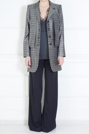 Жакет из шерсти и шелка Marc Jacobs. Цвет: черный, серебряный