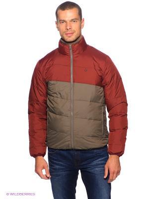 Куртка Volcom. Цвет: темно-красный, серо-коричневый