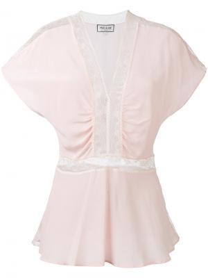 Блузка с кружевными вставками Paul & Joe. Цвет: розовый и фиолетовый