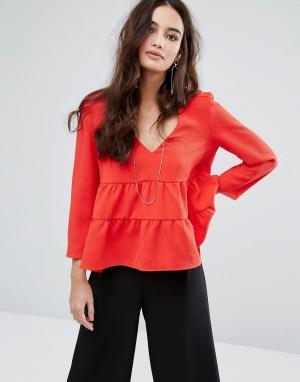 BA&SH Блузка с открытой спиной. Цвет: красный