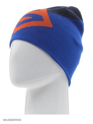 Шапка FLAT SPIN REVERSIBLE BEANIE SALOMON. Цвет: темно-синий, голубой, светло-оранжевый