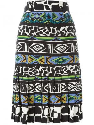 Плиссированная юбка А-образного силуэта Jean Louis Scherrer Vintage. Цвет: многоцветный
