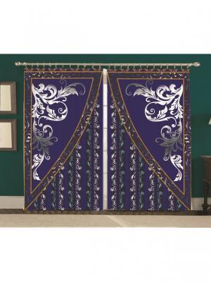 Комплект штор блэкаут Ренэ 150*270 (2) + тюль 240*270 (1) в подарок МарТекс. Цвет: темно-синий, золотистый, серый меланж