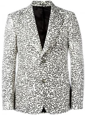 Пиджак с леопардовым рисунком Alexander McQueen. Цвет: белый