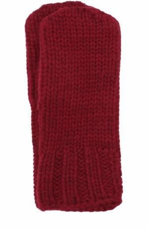 Варежки фактурной вязки Tegin. Цвет: бордовый