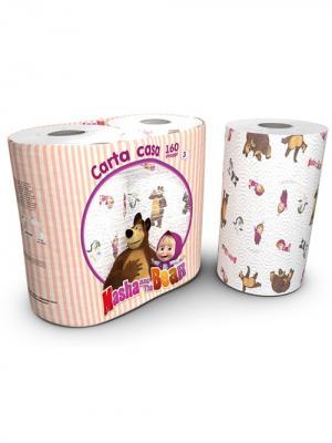 Полотенца кухонные Маша и медведь 3-х слойные с рисунком, 2 рулона по 80 листов, 18.4 м World Cart. Цвет: белый