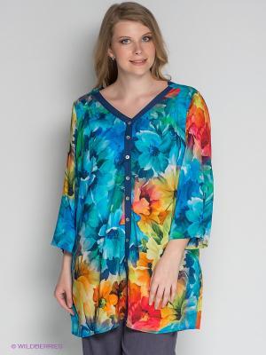 Блузка ARDATEX. Цвет: бирюзовый, зеленый, оранжевый