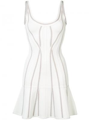 Расклешенное мини-платье Hervé Léger. Цвет: белый