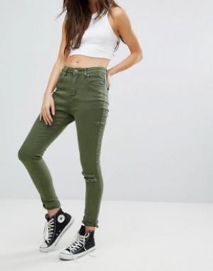 Liquor & Poker Рваные облегающие джинсы. Цвет: зеленый