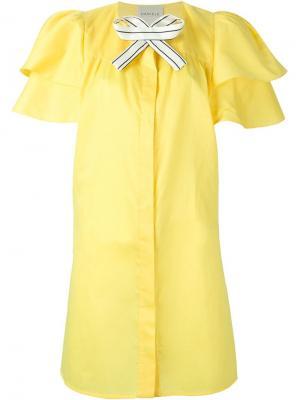 Платье-рубашка с бантом Daniele Carlotta. Цвет: жёлтый и оранжевый