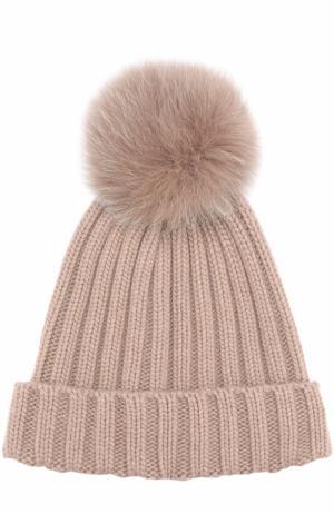 Вязаная шапка с меховым помпоном Nima. Цвет: светло-коричневый